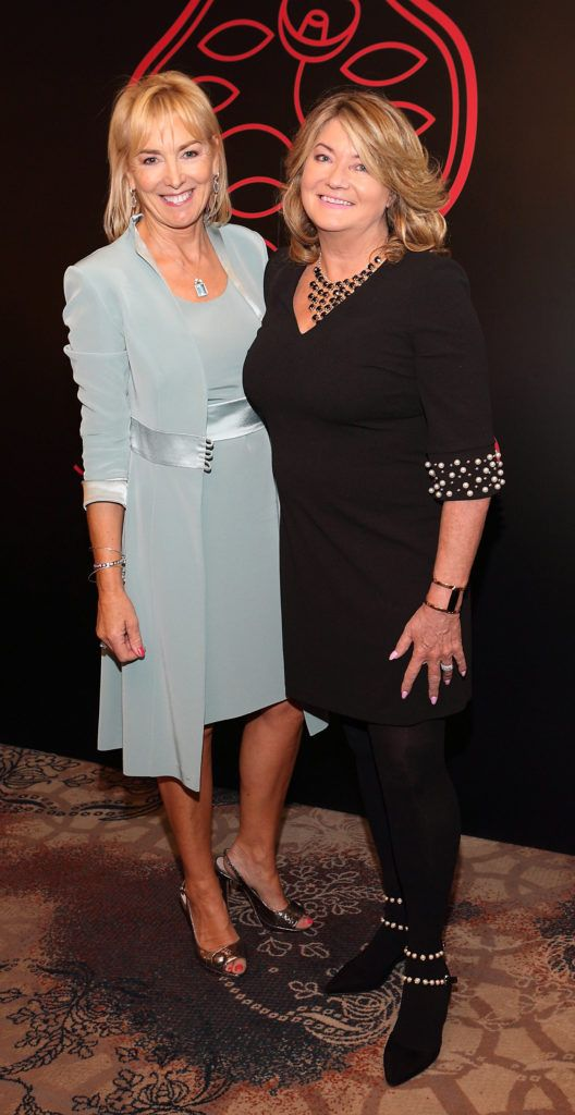 Kay Hutton and Susan McLaverty at the Shiseido International Charity Lunch and Fashion Show in aid of the Rape Crisis Centre hosted by catwalk queen Miss Candy at the Westin Hotel, Dublin. Pic Brian McEvoy Photography