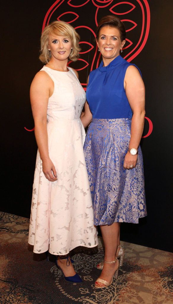 Deirdre Byrne and Collette Muldoon at the Shiseido International Charity Lunch and Fashion Show in aid of the Rape Crisis Centre hosted by catwalk queen Miss Candy at the Westin Hotel, Dublin. Pic Brian McEvoy Photography
