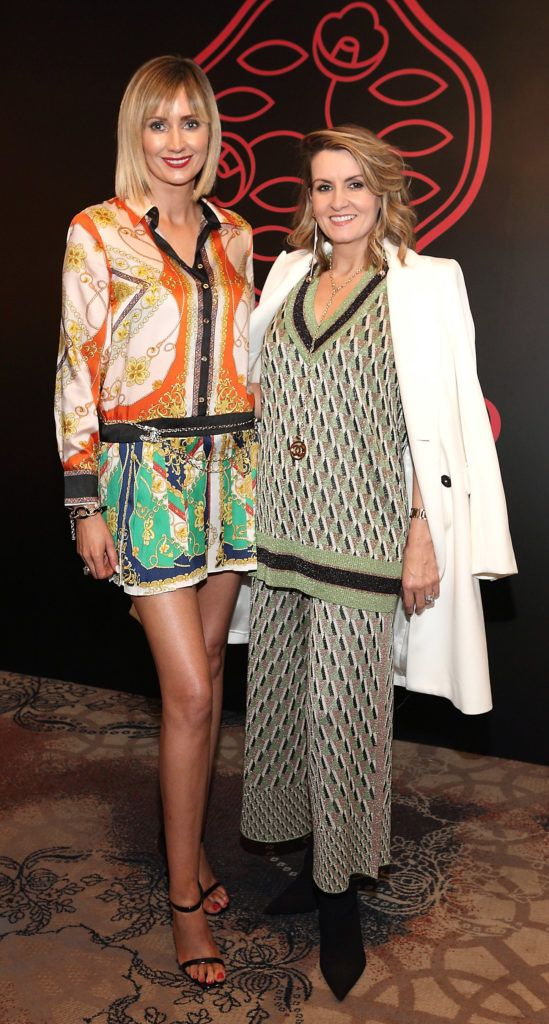 Leslie Healy and Charlotte Bradshaw at the Shiseido International Charity Lunch and Fashion Show in aid of the Rape Crisis Centre hosted by catwalk queen Miss Candy at the Westin Hotel, Dublin. Pic Brian McEvoy Photography