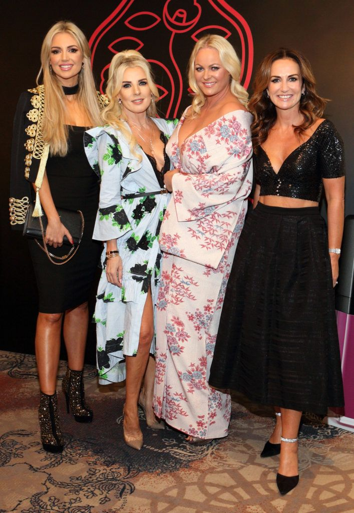 Rosanna Davison, Roz Flanagan, Amanda Brunker and Lorraine Keane at the Shiseido International Charity Lunch and Fashion Show in aid of the Rape Crisis Centre hosted by catwalk queen Miss Candy at the Westin Hotel, Dublin. Pic Brian McEvoy Photography