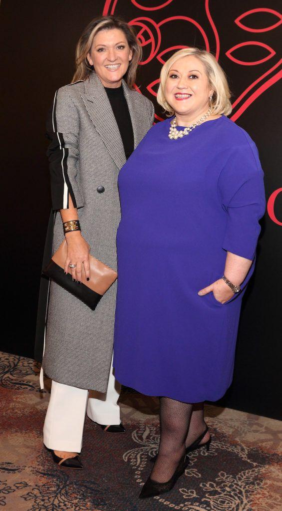 Emma Coppola and Carmel Breheney at the Shiseido International Charity Lunch and Fashion Show in aid of the Rape Crisis Centre hosted by catwalk queen Miss Candy at the Westin Hotel, Dublin. Pic Brian McEvoy Photography