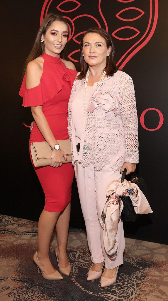 Erica Macari and Danielle Macari at the Shiseido International Charity Lunch and Fashion Show in aid of the Rape Crisis Centre hosted by catwalk queen Miss Candy at the Westin Hotel, Dublin. Pic Brian McEvoy Photography