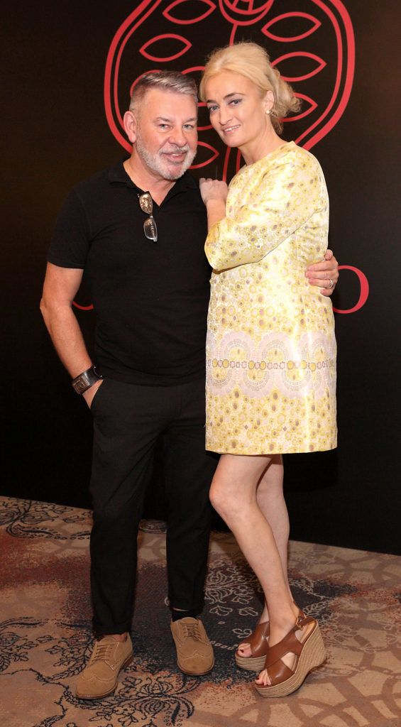 Michael Doyle and Catriona Hanly at the Shiseido International Charity Lunch and Fashion Show in aid of the Rape Crisis Centre hosted by catwalk queen Miss Candy at the Westin Hotel, Dublin. Pic Brian McEvoy Photography