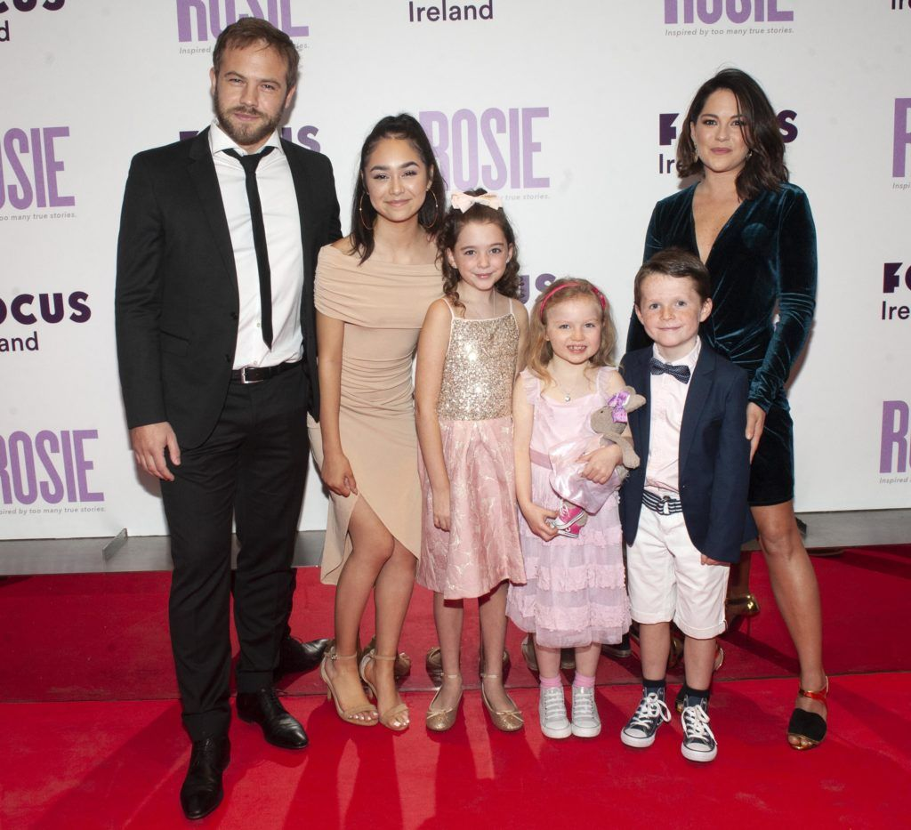 Moe Dunford, Ellie O'Halloran Ruby Dunne (age 9), Molly Mc Cann (age7) Daragh McKenzie (age 9) Sarah Greene  pictured at the European premiere of 'Rosie' at the Light House Cinema, Dublin. Photo: Patrick O'Leary