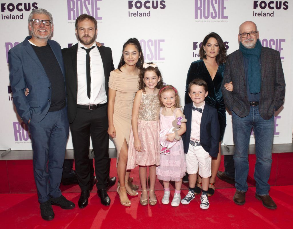 Director Paddy Breathnach, Moe Dunford, Ellie O'Halloran Ruby Dunne (age 9), Molly Mc Cann (age 7) Daragh McKenzie (age 9) Sarah Greene and writer Roddy Doyle pictured at the European premiere of 'Rosie' at the Light House Cinema, Dublin. Photo: Patrick O'Leary