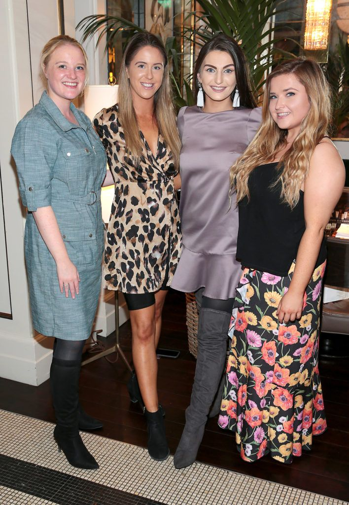 Sandra Mallon, Sarah Curran, Fionnuala Moran and Emma Costello at the launch of Bellamianta Luxury Tan's Ultimate Glowgetter Kit at Dublin's Westbury Hotel. Picture: Brian McEvoy