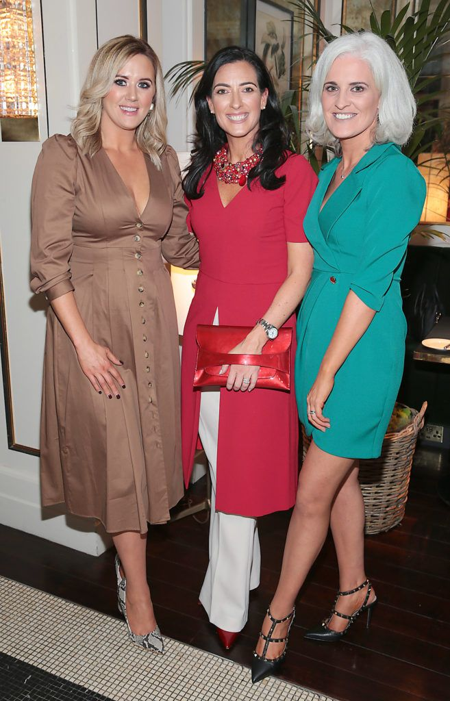 Linda McNamee, Lisa McGowan and Jane Buckley at the launch of Bellamianta Luxury Tan's Ultimate Glowgetter Kit at Dublin's Westbury Hotel. Picture: Brian McEvoy
