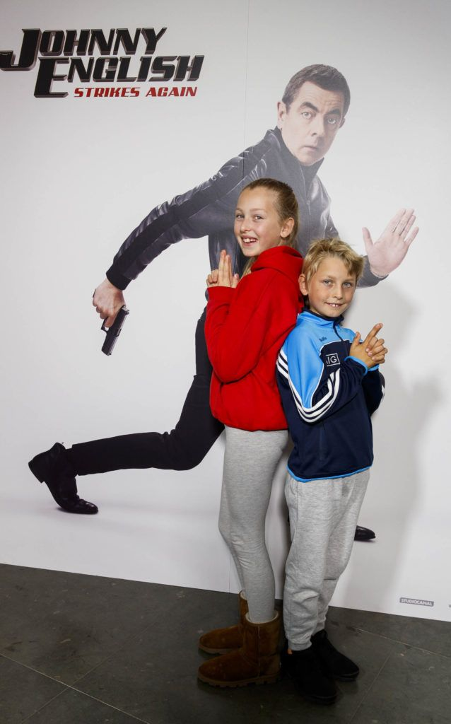 Joni (11) and Rio Piskorski (8) pictured at a special preview screening of Johnny English Strikes Again at ODEON Point Village, Dublin. Picture Andres Poveda