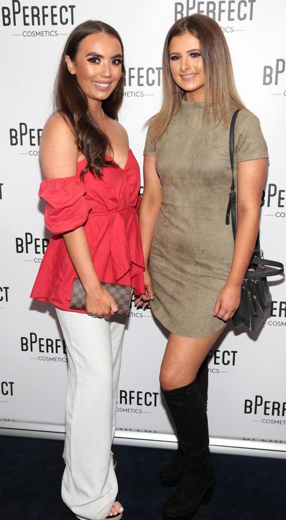Sophie McSweeney and Cara Nugent pictured at launch of the BPerfect Cosmetics Born Ready Lip Kits in partnership with MUA Ellie Kelly at Twenty Two, Dublin. Photo: Brian McEvoy