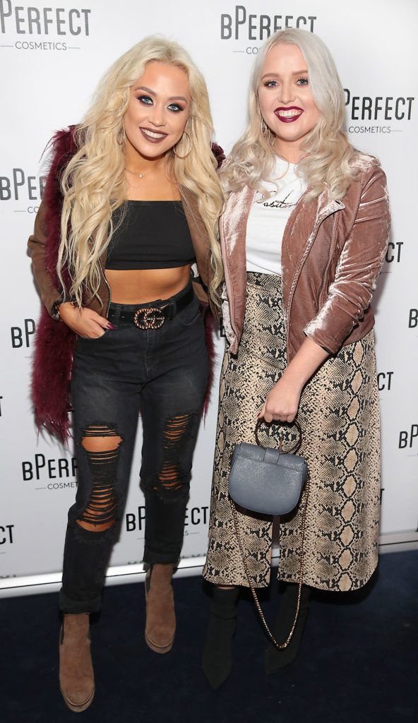 Jade Mullett and Laura Mullett pictured at launch of the BPerfect Cosmetics Born Ready Lip Kits in partnership with MUA Ellie Kelly at Twenty Two, Dublin. Photo: Brian McEvoy