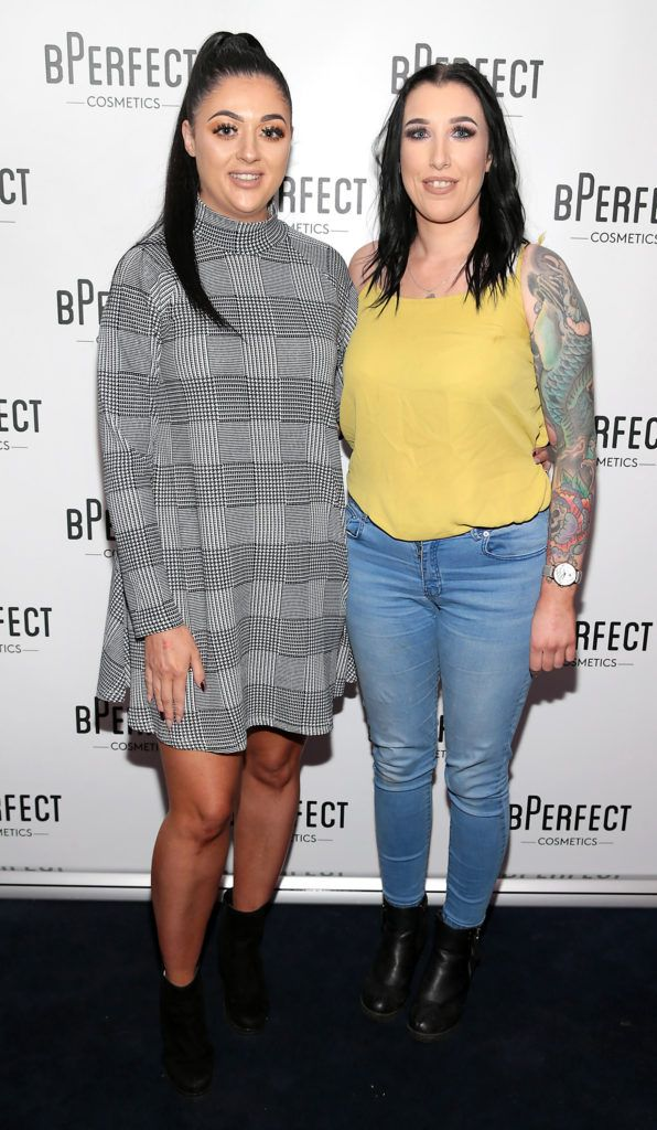 Veronica Debara and Rachel McMullen pictured at launch of the BPerfect Cosmetics Born Ready Lip Kits in partnership with MUA Ellie Kelly at Twenty Two, Dublin. Photo: Brian McEvoy