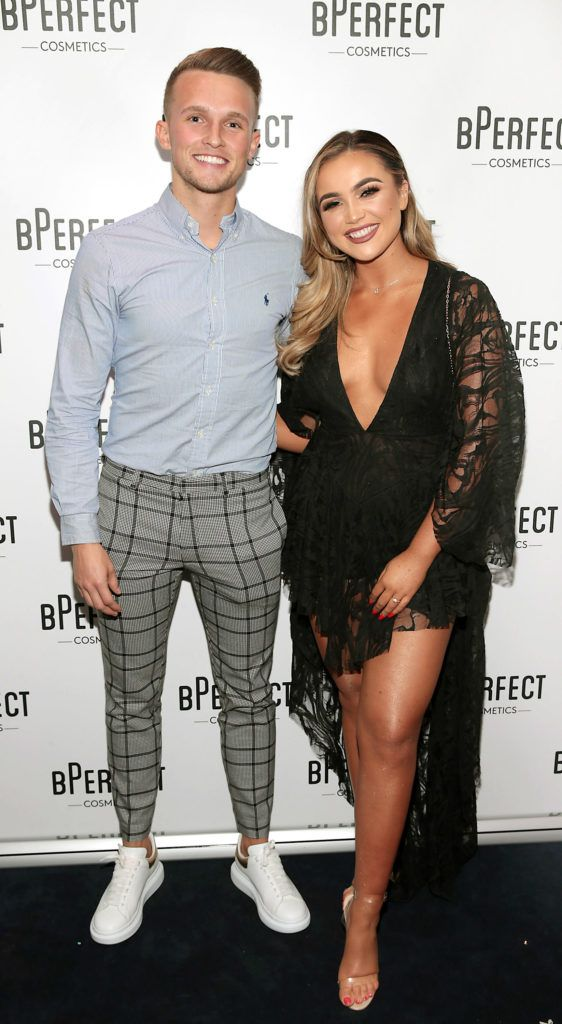 Conor Ryan and Ellie Kelly pictured at launch of the BPerfect Cosmetics Born Ready Lip Kits in partnership with MUA Ellie Kelly at Twenty Two, Dublin. Photo: Brian McEvoy