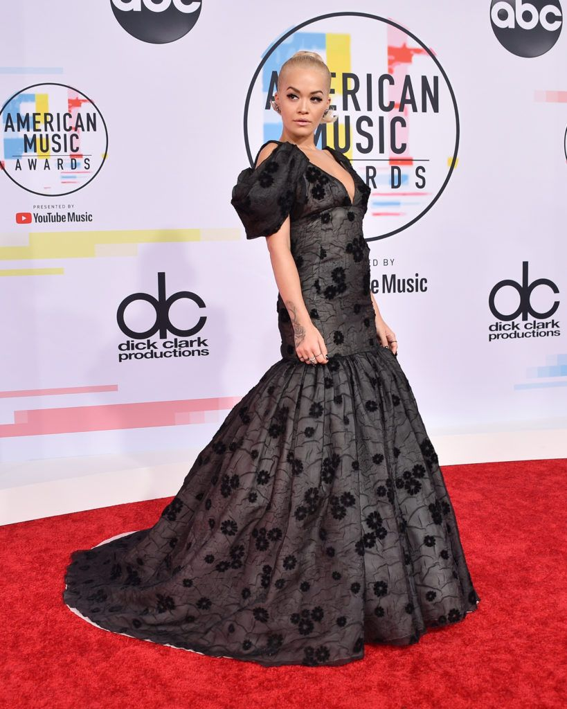 Rita Ora attends the 2018 American Music Awards at Microsoft Theater on October 9, 2018 in Los Angeles, California.  (Photo by David Crotty/Patrick McMullan via Getty Images)