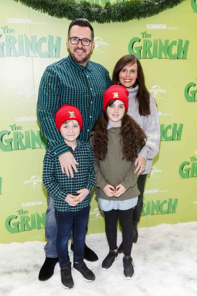 Clyde and Abigale Carroll with children Ethan and Eliza pictured at the Irish premiere screening of The Grinch at ODEON Point Village, Dublin. Picture Andres Poveda