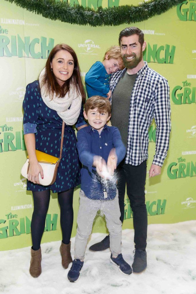 Ciara and Daniel Fagan with Charlie (4) and Alex (8) pictured at the Irish premiere screening of The Grinch at ODEON Point Village, Dublin. Picture Andres Poveda
