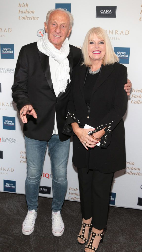 Paul Costelloe and Mary Mitchell O Connor at the 2018 Irish Fashion Collective show in aid of Saint Joseph's Shankill, at the Conrad Dublin. Photo: Brian McEvoy