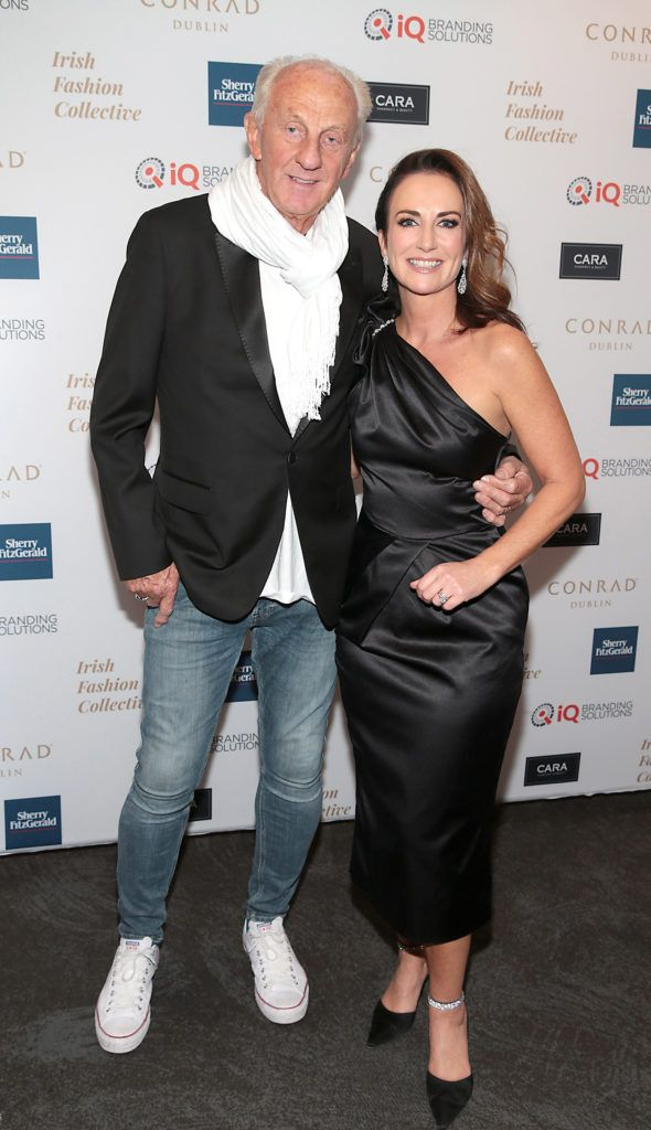 Paul Costelloe and Lorraine Keane at the 2018 Irish Fashion Collective show in aid of Saint Joseph's Shankill, at the Conrad Dublin. Photo: Brian McEvoy