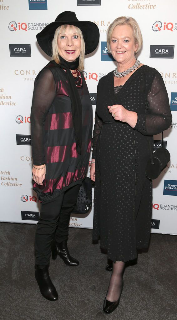 Gwen Chapple and Ann Carolan at the 2018 Irish Fashion Collective show in aid of Saint Joseph's Shankill, at the Conrad Dublin. Photo: Brian McEvoy
