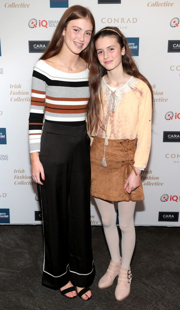 Emelia Devlin and Romy Devlin at the 2018 Irish Fashion Collective show in aid of Saint Joseph's Shankill, at the Conrad Dublin. Photo: Brian McEvoy