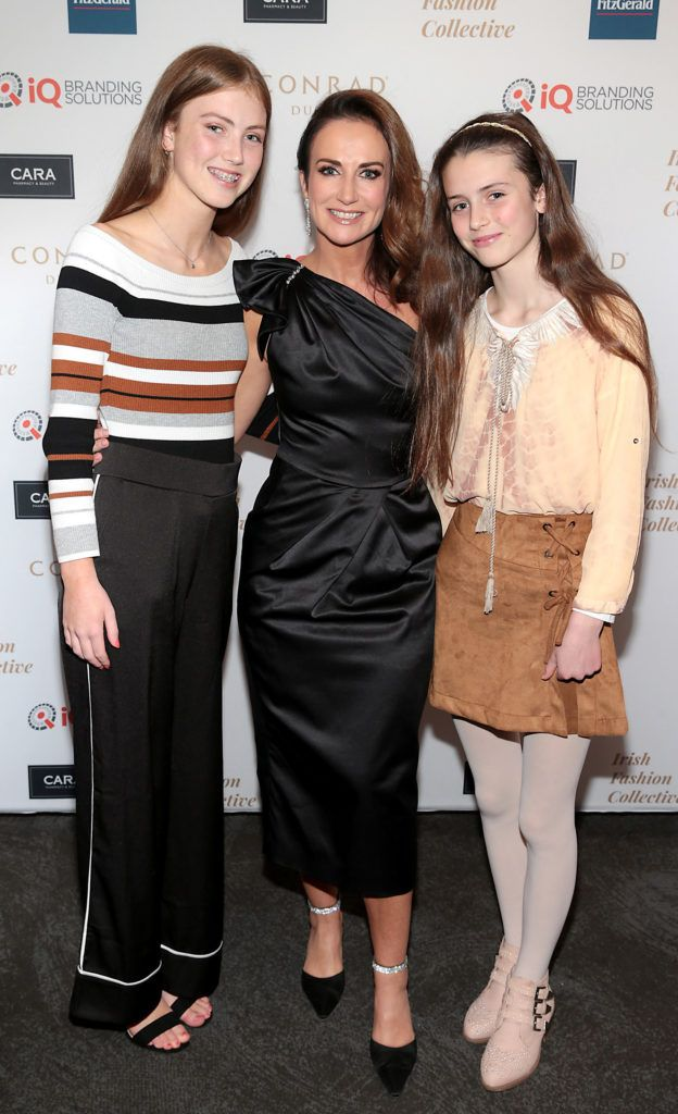 Lorraine Keane with daughters Emelia and Romy at the 2018 Irish Fashion Collective show in aid of Saint Joseph's Shankill, at the Conrad Dublin. Photo: Brian McEvoy