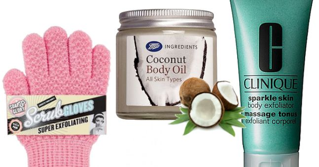 Get Rid Of Manky Old Tan Using Scrubby Gloves, Coconut Body Oil, Clinique Sparkle Skin