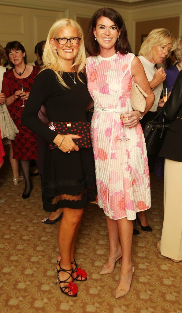 Pictured at the Brown Thomas / ISPCC charity luncheon at the Four Seasons Hotel in Dublin were (l to r): Paula McClean and Julie Carroll. Photograph: Leon Farrell / Photocall Ireland