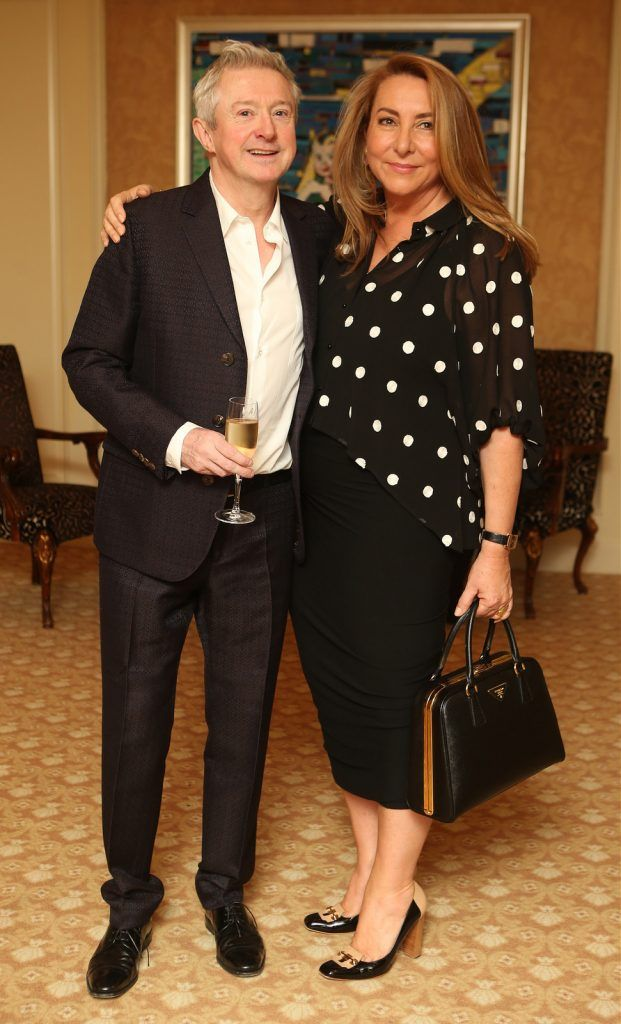 Pictured at the Brown Thomas / ISPCC charity luncheon at the Four Seasons Hotel in Dublin were (l to r): Louis Walsh and Caroline Downey. Photograph: Leon Farrell / Photocall Ireland