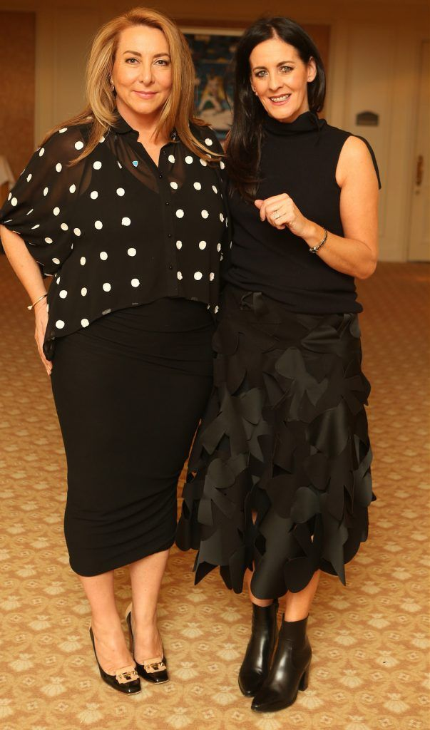 Pictured at the Brown Thomas / ISPCC charity luncheon at the Four Seasons Hotel in Dublin were (l to r): Caroline Downey and Shelly Corkery . Photograph: Leon Farrell / Photocall Ireland