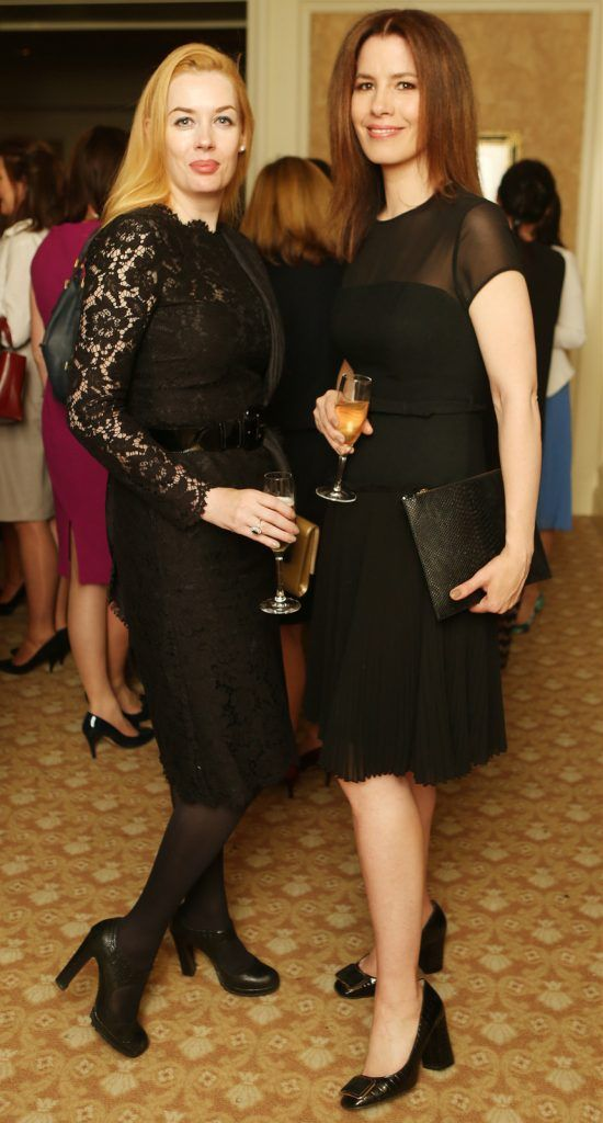 Pictured at the Brown Thomas / ISPCC charity luncheon at the Four Seasons Hotel in Dublin were (l to r): Fiona Foyholland and Annemarie O'Connor. Photograph: Leon Farrell / Photocall Ireland