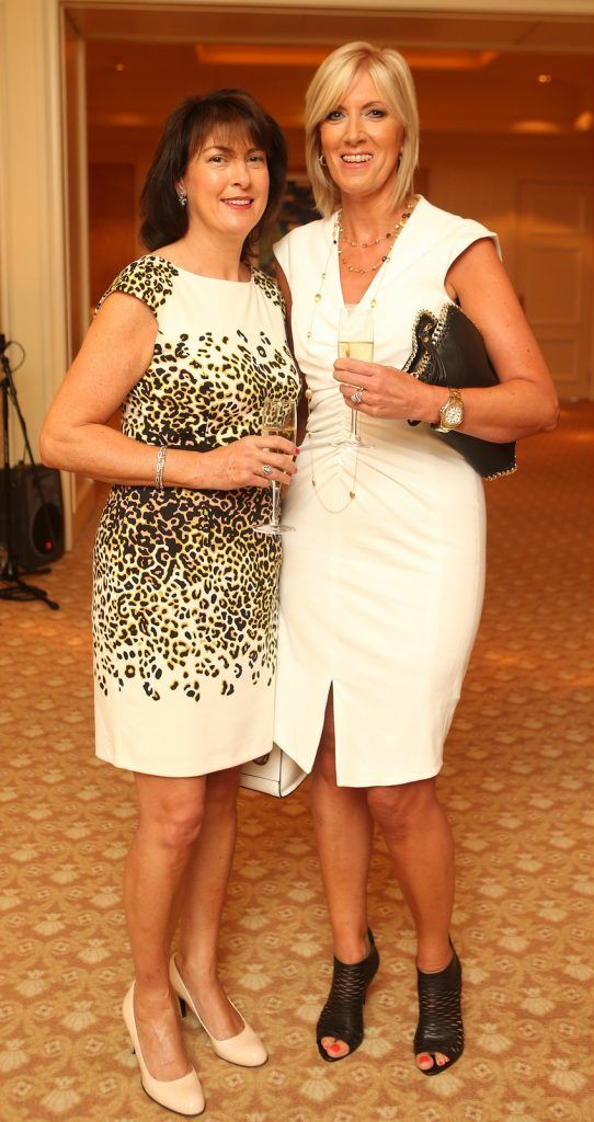Pictured at the Brown Thomas / ISPCC charity luncheon at the Four Seasons Hotel in Dublin were (l to r): Diana Healion and Lorraine Murray. Photograph: Leon Farrell / Photocall Ireland