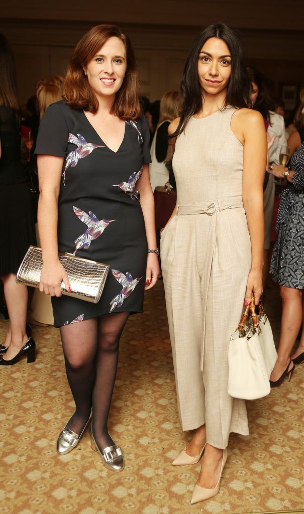 Pictured at the Brown Thomas / ISPCC charity luncheon at the Four Seasons Hotel in Dublin were (l to r): Kate Costello and Danielle Ryan. Photograph: Leon Farrell / Photocall Ireland