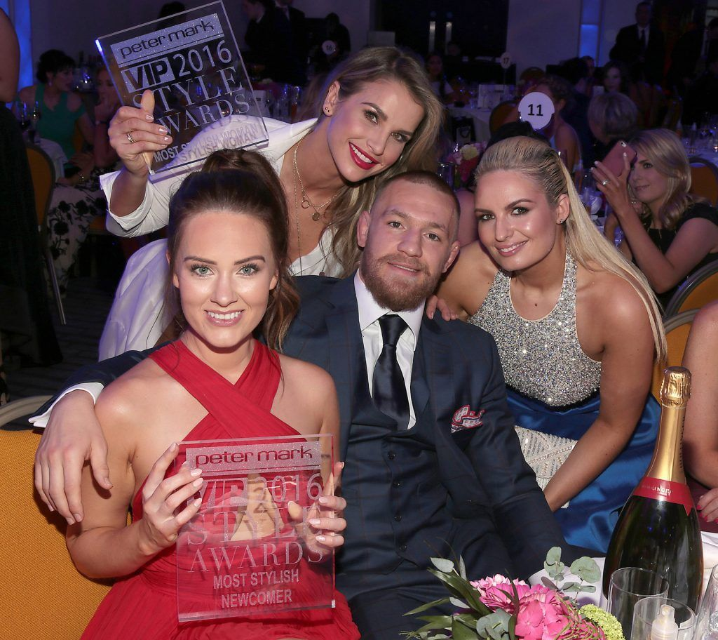 Conor McGregor and partner Dee Devlin with Vogue Williams and Louise O Reilly at The Peter Mark Vip Style Awards at The Marker Hotel in Dublin..Picture:Brian McEvoy