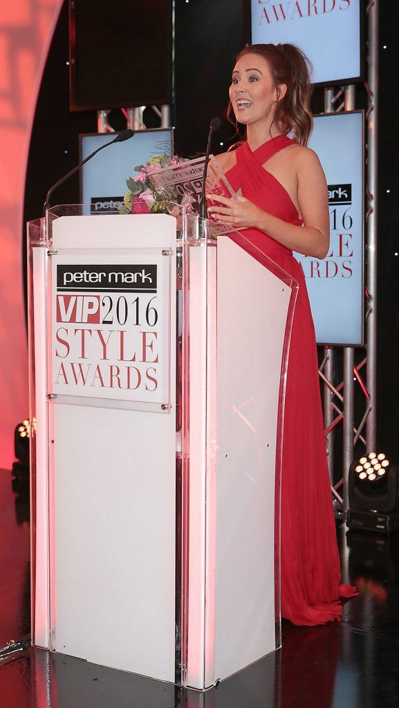 Conor McGregor's partner Dee Devlin after she was awarded the prize of most stylish Newcomer at The Peter Mark Vip Style Awards at The Marker Hotel in Dublin..Picture:Brian McEvoy