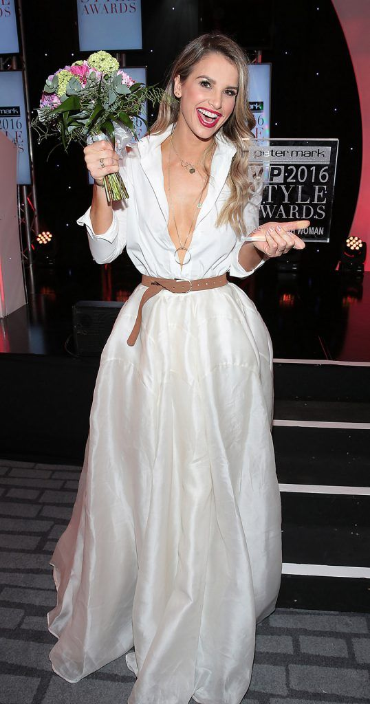 Vogue Williams  who was awarded the prize of most stylish woman at The Peter Mark Vip Style Awards at The Marker Hotel in Dublin..Picture:Brian McEvoy