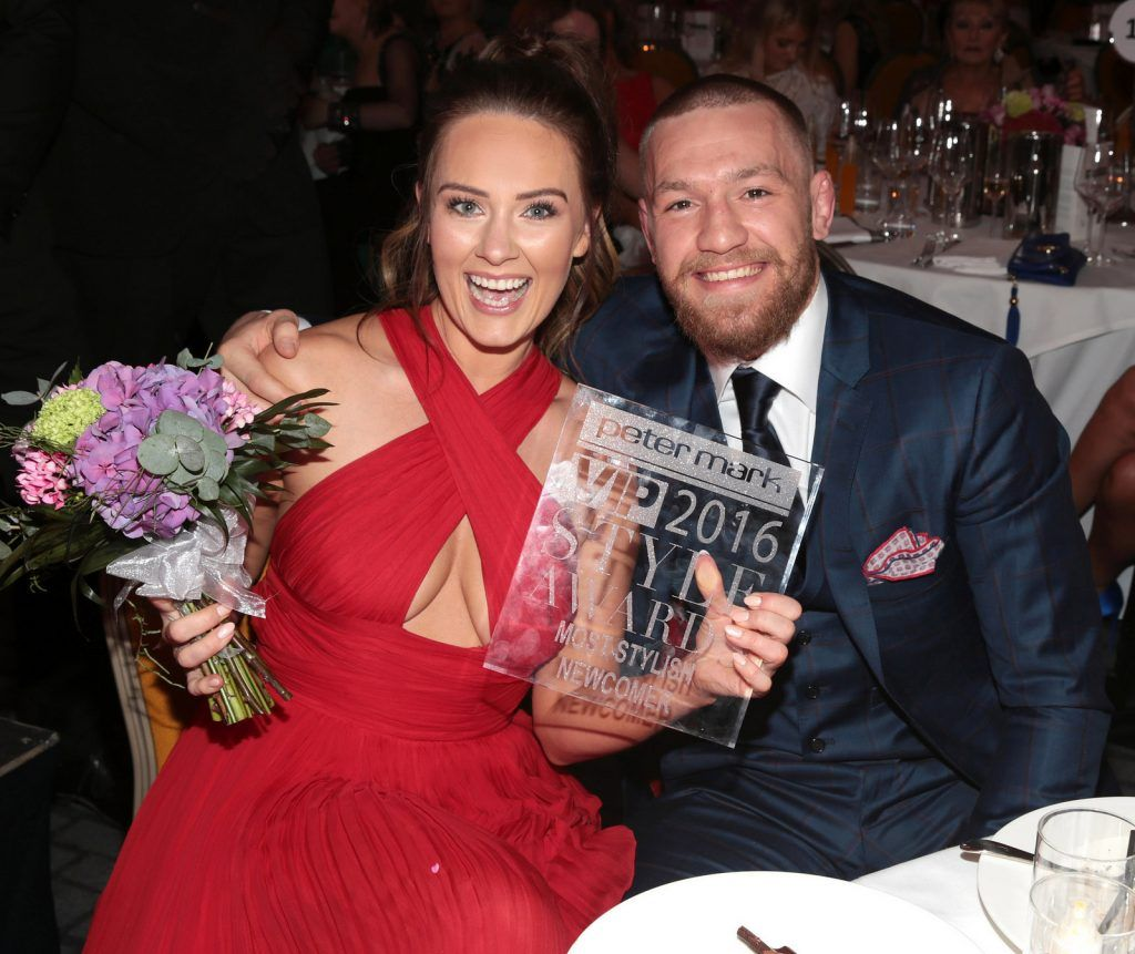 Conor McGregor congratulates his partner Dee Devlin after she was awarded the prize of most stylish Newcomer at The Peter Mark Vip Style Awards at The Marker Hotel in Dublin..Picture:Brian McEvoy