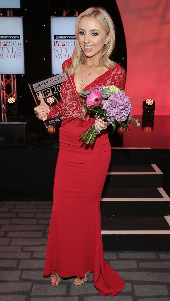 Rosie Connolly who was awarded the prize of most stylish online influencer  at The Peter Mark Vip Style Awards at The Marker Hotel in Dublin..Picture:Brian McEvoy