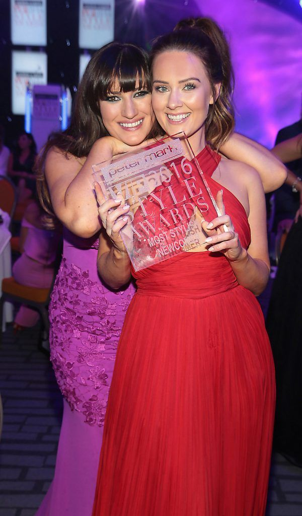 Elaine Crowley and Dee Devlin at The Peter Mark Vip Style Awards at The Marker Hotel in Dublin..Picture:Brian McEvoy