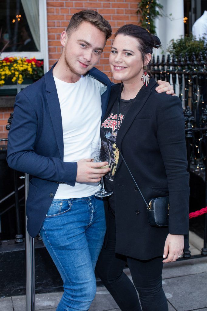 Patrick Quinn Byrne & Corina Gaffey pictured enjoying Moët Party Day in Dublin. Moët Party Day was a worldwide event that took place over 24 hours on Saturday, 11th June, starting in New Zealand and ending in Mexico #MoetPartyDay. Photo: Anthony Woods