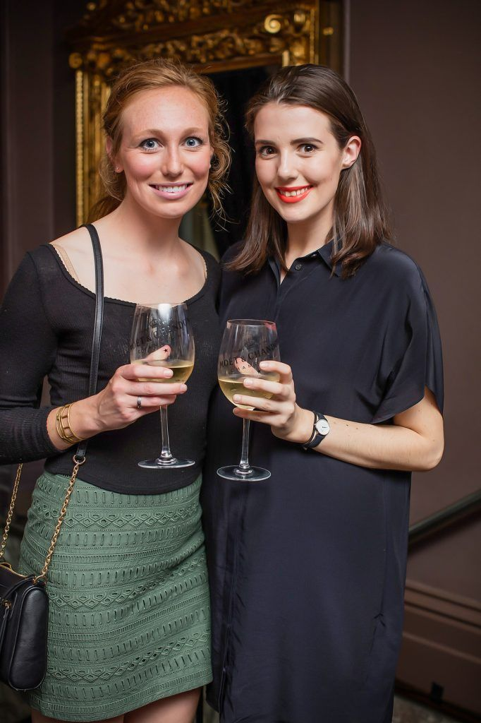 Elizabeth Romme & Lindsay Butler pictured enjoying Moët Party Day in Dublin. Moët Party Day was a worldwide event that took place over 24 hours on Saturday, 11th June, starting in New Zealand and ending in Mexico #MoetPartyDay. Photo: Anthony Woods
