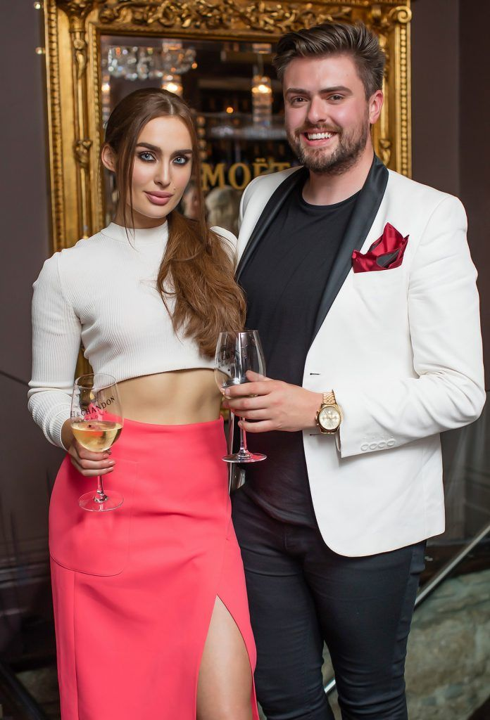 Roz Purcell & James Butler pictured enjoying Moët Party Day in Dublin. Moët Party Day was a worldwide event that took place over 24 hours on Saturday, 11th June, starting in New Zealand and ending in Mexico #MoetPartyDay. Photo: Anthony Woods