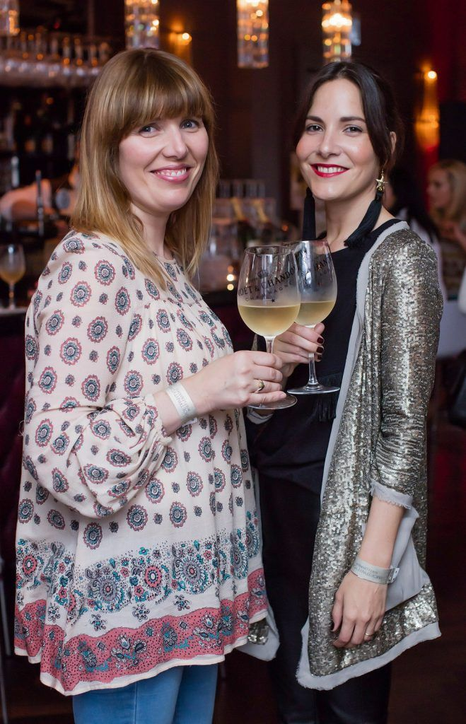 Elaine Cullen & Maria Estivariz pictured enjoying Moët Party Day in Dublin. Moët Party Day was a worldwide event that took place over 24 hours on Saturday, 11th June, starting in New Zealand and ending in Mexico #MoetPartyDay. Photo: Anthony Woods