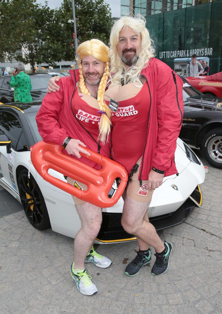 Phillip Tyrrell and Donal Lawless at the start of the Cannonball Supercar 2016 event at Point Village Dublin. Proceeds from this year's Supercar spectacle will go to the Pieta House charity (Photo by Brian McEvoy).