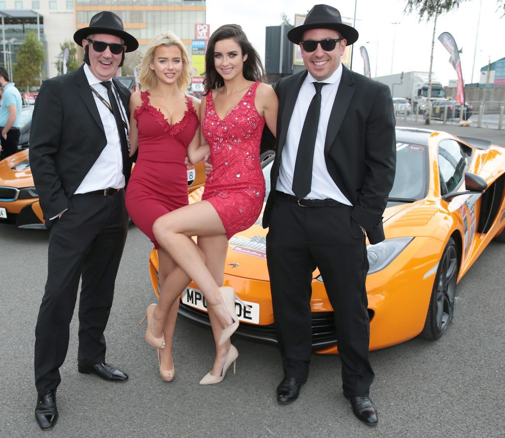 Stephen Kelly, Julia Milcarek , Aoife McGrane and David Patton at the start of the Cannonball Supercar 2016 event at Point Village Dublin. Proceeds from this year's Supercar spectacle will go to the Pieta House charity (Photo by Brian McEvoy).