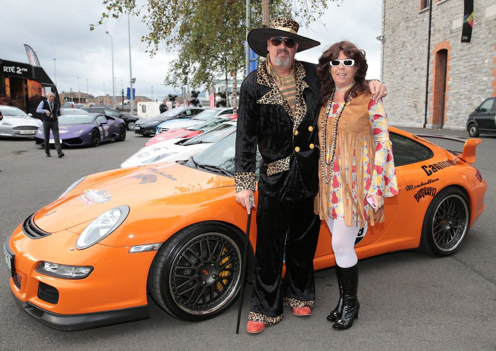 Pat McCloskey and Daphne McCloskey at the start of the Cannonball Supercar 2016 event at Point Village Dublin. Proceeds from this year's Supercar spectacle will go to the Pieta House charity (Photo by Brian McEvoy).