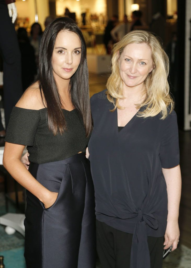 Laura Toner and Sinead Keenan  at the launch of Peter O Brien for Arnotts collection and the Arnotts Autumn Winter 2016 launch (Photo by Kieran Harnett).