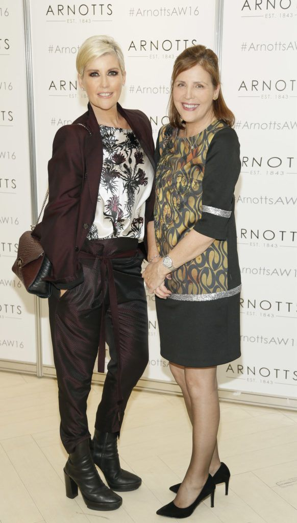 Lisa Fitzpatrick and Liz Rae  at the launch of Peter O Brien for Arnotts collection and the Arnotts Autumn Winter 2016 launch (Photo by Kieran Harnett).