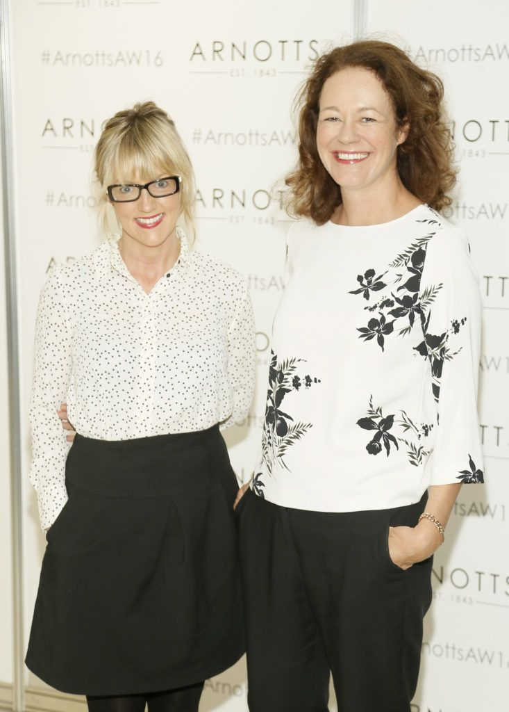 Niamh Foley and Catherine Walsh  at the launch of Peter O Brien for Arnotts collection and the Arnotts Autumn Winter 2016 launch (Photo by Kieran Harnett).