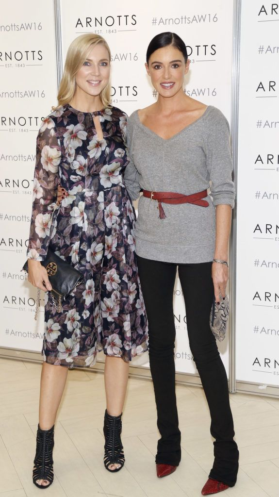 Sarah McGovern and Ruth Griffin  at the launch of Peter O Brien for Arnotts collection and the Arnotts Autumn Winter 2016 launch (Photo by Kieran Harnett).