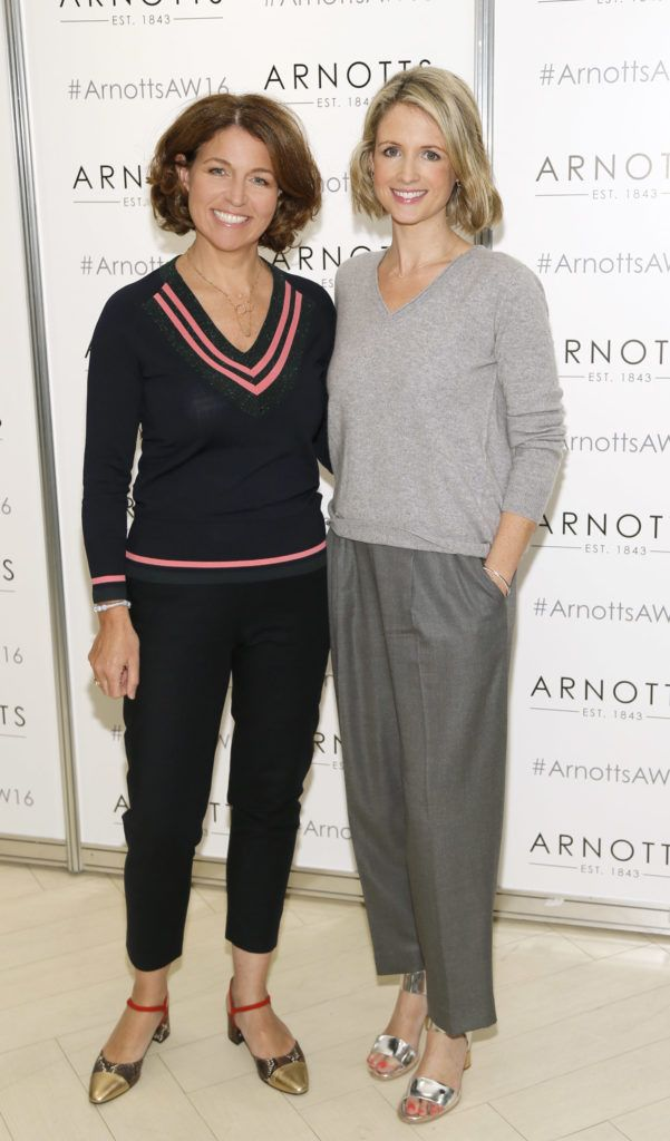 Tara Fay and Louise Stokes  at the launch of Peter O Brien for Arnotts collection and the Arnotts Autumn Winter 2016 launch (Photo by Kieran Harnett).