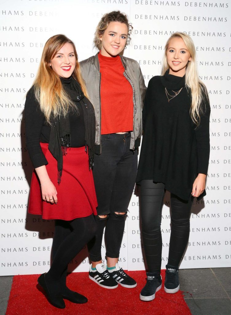 Pictured are Megan Kessie, Aine O'Donnell and Kenda Becker as Debenhams showcased their AW16 collection last night in the stunning back drop of Christ Church Catherdral. Guests sipped on Mc Guigan Frizzante as 1st Options Model took to the Crypt catwalk for a show styled by top stylist Sonja Mohlich. Pic: Marc O'Sullivan